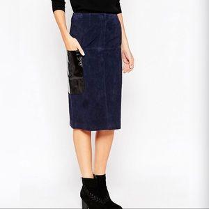 ASOS 100% Suede Pencil Skirt